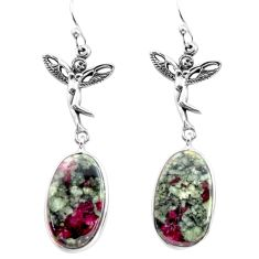 925 silver 19.23cts natural pink eudialyte angel wings fairy earrings p72589