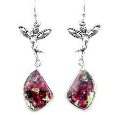 925 silver 16.20cts natural pink eudialyte angel wings fairy earrings p72592