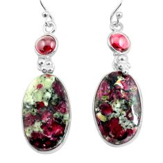 925 silver 19.09cts natural pink eudialyte red garnet dangle earrings p78511