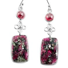 925 silver 18.33cts natural pink eudialyte red garnet dangle earrings p78515