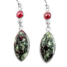 925 silver 19.09cts natural pink eudialyte red garnet dangle earrings p78518