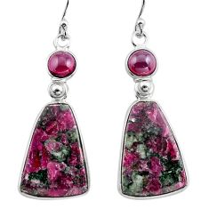 925 silver 20.39cts natural pink eudialyte red garnet dangle earrings p88816
