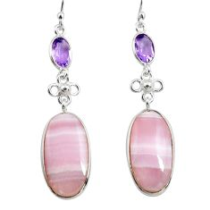 925 silver 19.73cts natural pink lace agate amethyst dangle earrings p78491
