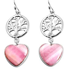 925 silver 16.49cts natural pink lace agate heart tree of life earrings p91816
