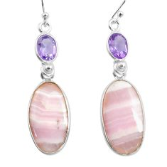 925 silver 16.04cts natural pink lace agate purple amethyst earrings p78484