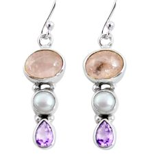 925 silver 10.32cts natural pink morganite amethyst pearl dangle earrings p57535
