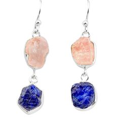 925 silver 16.06cts natural pink morganite rough sapphire rough earrings p73831