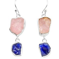 925 silver 14.88cts natural pink morganite rough sapphire rough earrings p73838