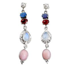 925 silver 18.22cts natural pink opal moonstone garnet dangle earrings d32305