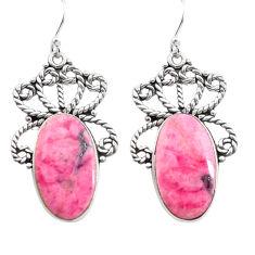 925 silver 22.22cts natural pink rhodonite in black manganese earrings p72645