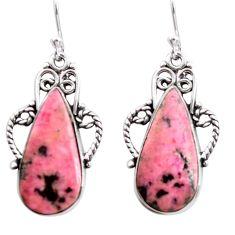 925 silver 18.70cts natural pink rhodonite in black manganese earrings p72648