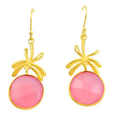 19.58cts natural pink rose quartz 14k gold chandelier earrings p49793