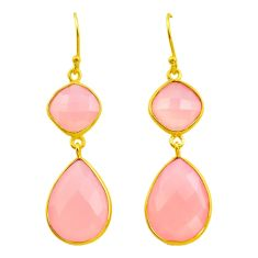 925 silver 24.61cts natural pink rose quartz 14k gold dangle earrings p75235