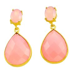925 silver 21.98cts natural pink rose quartz 14k gold dangle earrings p75292