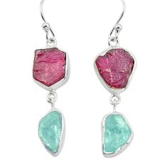 925 silver 15.55cts natural pink ruby rough aquamarine rough earrings p73873