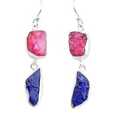 925 silver 16.87cts natural pink ruby rough sapphire rough earrings p73864