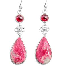925 silver 19.73cts natural pink thulite garnet dangle earrings jewelry p78600
