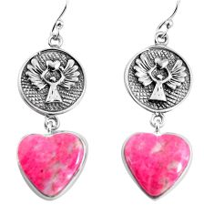 925 silver 20.07cts natural pink thulite heart dangle earrings jewelry p91849