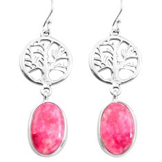 925 silver 13.67cts natural pink thulite tree of life earrings jewelry p72559