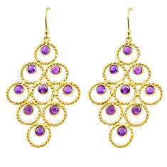 925 silver 10.47cts natural purple amethyst 14k gold dangle earrings p75453