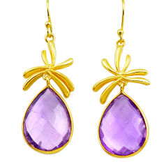 925 silver 20.33cts natural purple amethyst 14k gold dangle earrings p75710