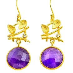 925 silver 18.14cts natural purple amethyst 14k gold dangle earrings p75731