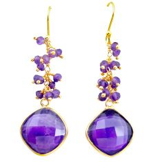 925 silver 20.95cts natural purple amethyst 14k gold dangle earrings p91244