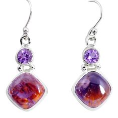 925 silver 12.91cts natural purple cacoxenite super seven dangle earrings p53320