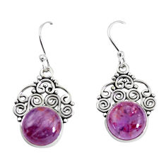 925 silver 8.94cts natural purple cacoxenite super seven dangle earrings p53340
