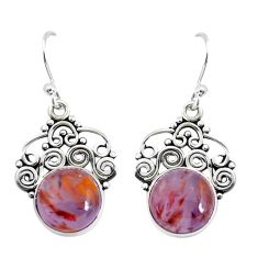 925 silver 8.55cts natural purple cacoxenite super seven dangle earrings p53355
