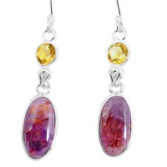 925 silver 10.84cts natural purple cacoxenite super seven dangle earrings p58069
