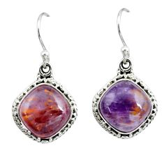 925 silver 10.30cts natural purple cacoxenite super seven dangle earrings p67259