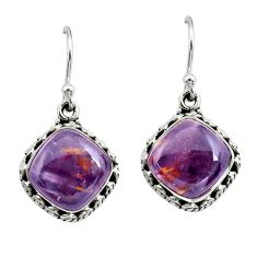 925 silver 10.02cts natural purple cacoxenite super seven dangle earrings p67270
