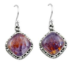 925 silver 10.37cts natural purple cacoxenite super seven dangle earrings p67274
