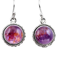 925 silver 10.76cts natural purple cacoxenite super seven dangle earrings p86131