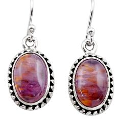 925 silver 9.31cts natural purple cacoxenite super seven dangle earrings p86148