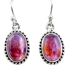 925 silver 9.42cts natural purple cacoxenite super seven dangle earrings p86160