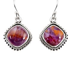 925 silver 10.78cts natural purple cacoxenite super seven dangle earrings p91589