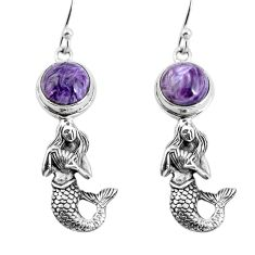 925 silver 6.32cts natural purple charoite fairy mermaid earrings jewelry p55477