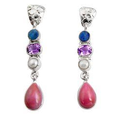 925 silver 14.39cts natural purple phosphosiderite (hope stone) earrings d32309