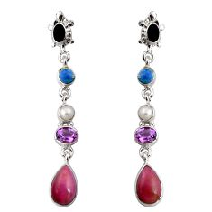 925 silver 17.38cts natural purple phosphosiderite (hope stone) earrings d32316