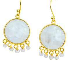 925 silver 31.01cts natural rainbow moonstone 14k gold dangle earrings p75698