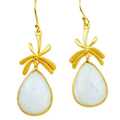 925 silver 23.13cts natural rainbow moonstone 14k gold dangle earrings p75715