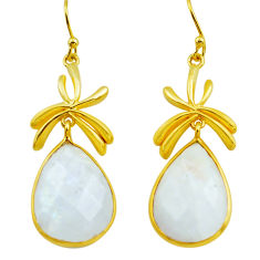 925 silver 23.07cts natural rainbow moonstone 14k gold dangle earrings p75718