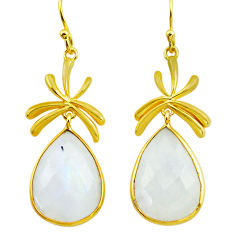925 silver 22.04cts natural rainbow moonstone 14k gold dangle earrings p75720
