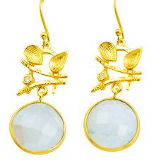 925 silver 21.48cts natural rainbow moonstone 14k gold dangle earrings p75738