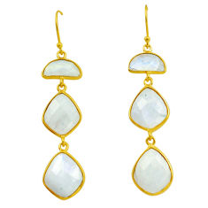 925 silver 24.06cts natural rainbow moonstone 14k gold dangle earrings p75784