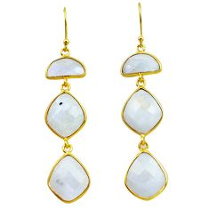 925 silver 25.19cts natural rainbow moonstone 14k gold dangle earrings p75787