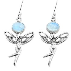 925 silver 4.73cts natural rainbow moonstone angel wings fairy earrings p38484