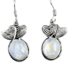 925 silver 11.23cts natural rainbow moonstone couple hearts earrings d32411